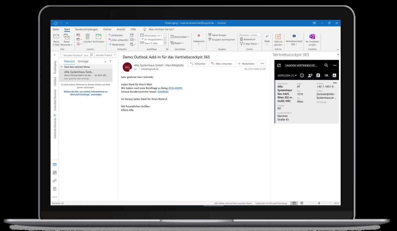 Vertriebscockpit365 Outlook Desktop Adressen