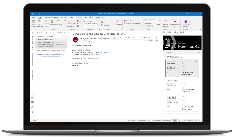 Vertriebscockpit365 Outlook Desktop Adressen Ansprechpartner