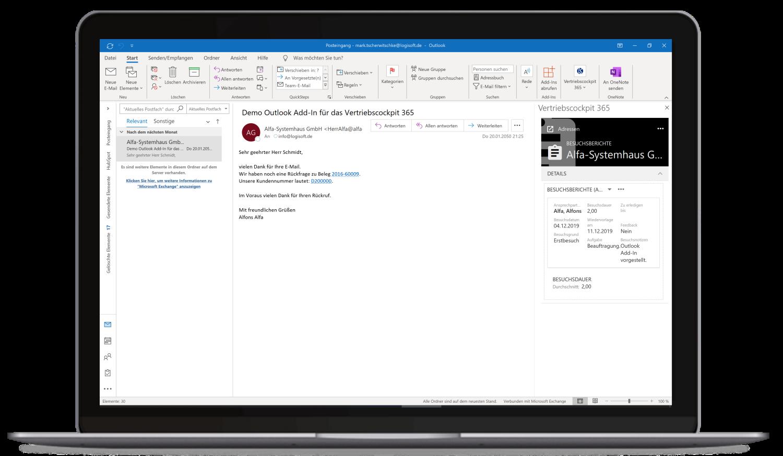 Vertriebscockpit365 Outlook Desktop Adressen Besuchsberichte