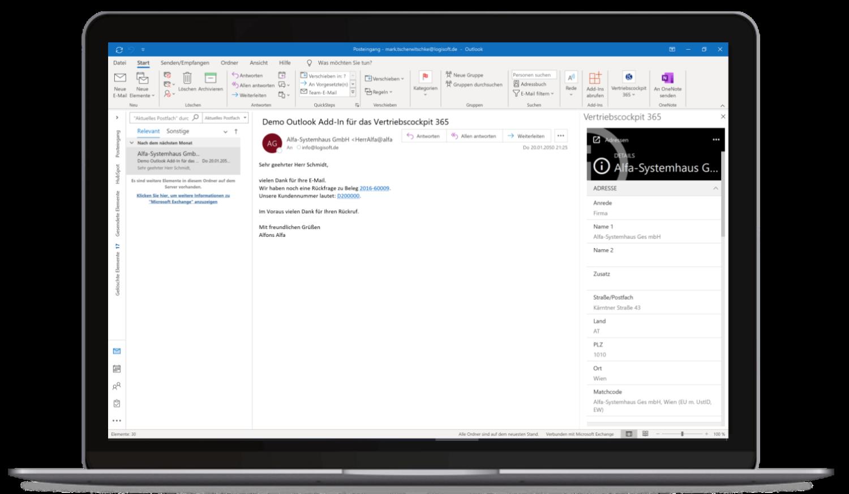 Vertriebscockpit365 Outlook Desktop Adressen Details