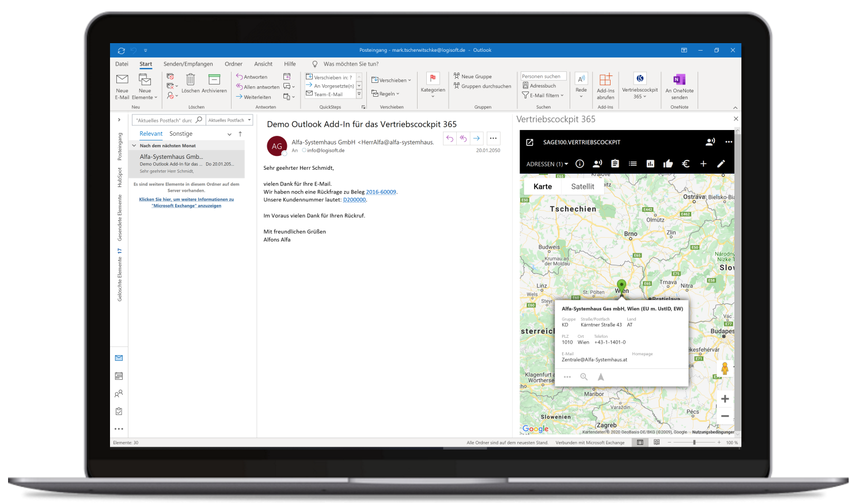 Vertriebscockpit365 Outlook Desktop Adressen Karte