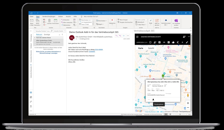 Vertriebscockpit365 Outlook Desktop Adressen Karte Routenplaner
