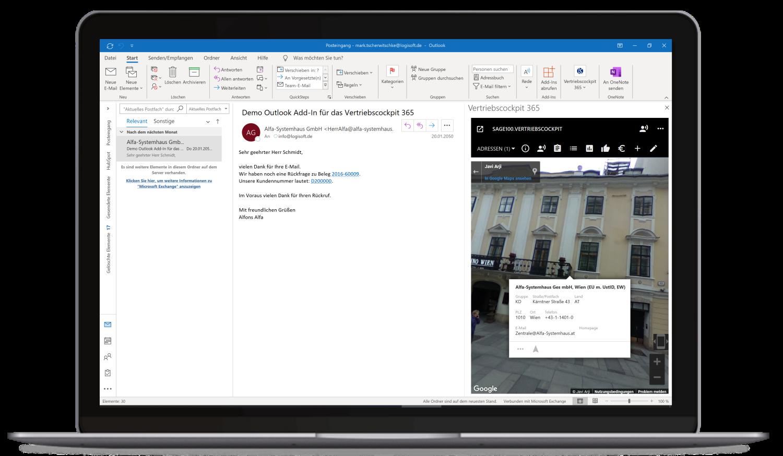 Vertriebscockpit365 Outlook Desktop Adressen Karte StreetView