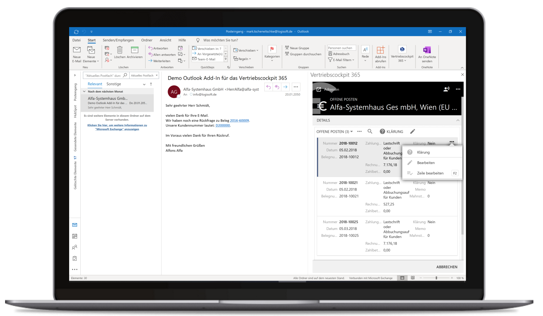 Vertriebscockpit365 Outlook Desktop Adressen OffenePosten