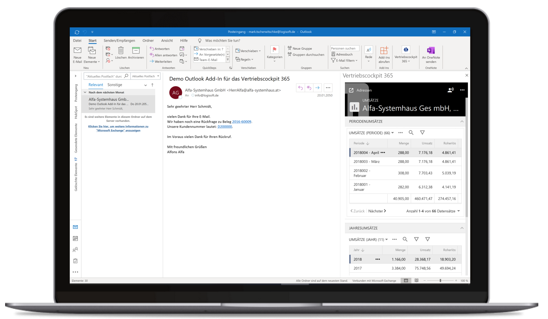 Vertriebscockpit365 Outlook Desktop Adressen Umsätze