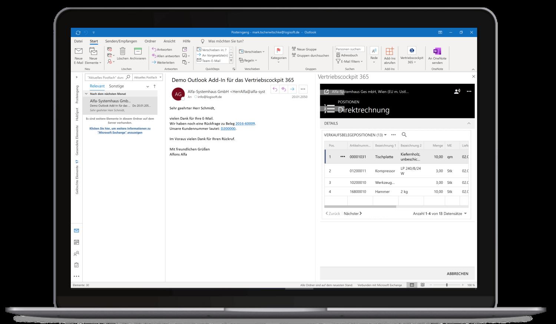 Vertriebscockpit365 Outlook Desktop Adressen Verkaufsbelege Positionen
