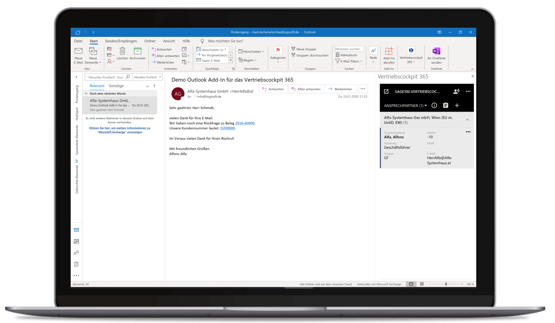 Vertriebscockpit365 Outlook Desktop Ansprechpartner