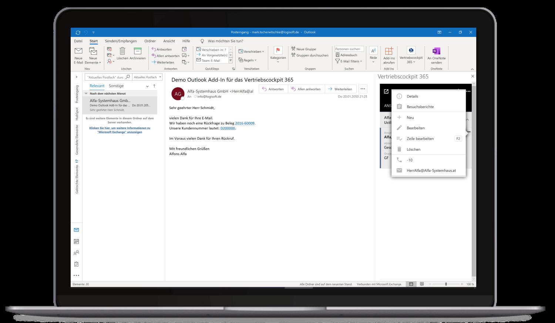 Vertriebscockpit365 Outlook Desktop Ansprechpartner Kontext