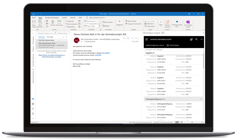 Vertriebscockpit365 Outlook Desktop Verkaufsbelege