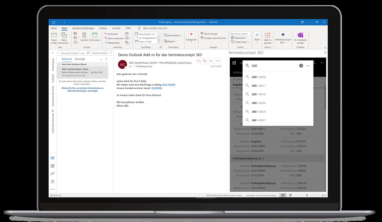 Vertriebscockpit365 Outlook Desktop Verkaufsbelege Suche