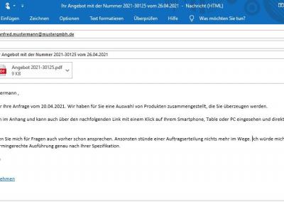 E-Mail Angebot mit Link zu mydatastream